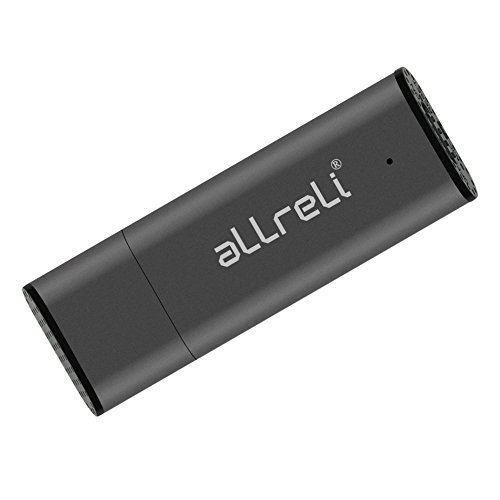 [Upgraded Version] aLLreLi CP00341 8GB USB Digital Voice Recorder for Mac & PC - Portable Rechargeable Spy Pen, USB Flash Drive for Recording Interviews, Meetings and Students Learning - Gray