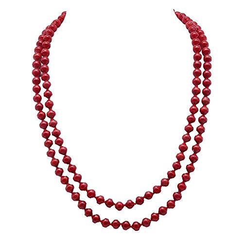 JYX Double Strand Coral Necklace 6-6.5mm Red Coral Necklace Long Sweater Necklace for Women 19