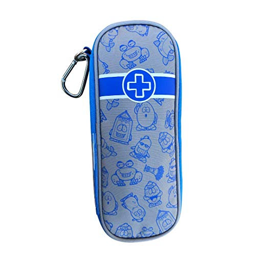 EpiPen Carrying Case for Kids - Busy Boy Blue Travel EpiPen Case & Emergency First Aid Pouch: Holds 2 Epipens, 2 AuviQs, 1 Inhaler & Included Medicine Bottle - Auvi-Q Epinephrine Medicine Case