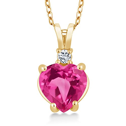 2.51 Ct Heart Shape Pink Created Sapphire White Topaz 14K Yellow Gold Pendant (Pink Sapphire Yellow Necklace)