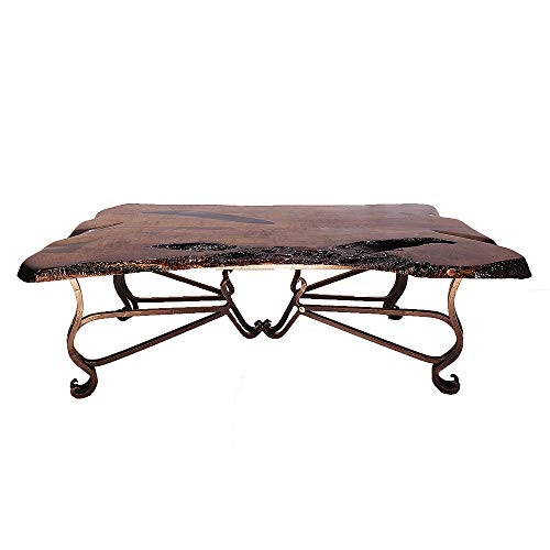Old World Rectangular Coffee Table with a Live Edge Mesquite Wood Top and a Sturdy Wrought Iron Base ()