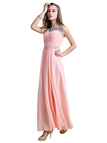 Emily Abendkleider Chiffon lang Rose V Beauty trägerlos Ausschnitt Spaghetti mit Tq8x6d