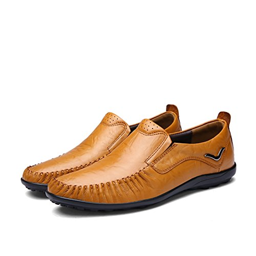 Minitoo Boys Mens Slip-On Moccasin Toe Casual Loafers Light Brown