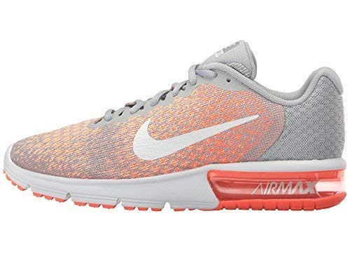 Nike Air Max Sequent 2 Wolf Grey/White/Bright Mango/Sunset Glow Women's Running Shoes 5.5 by Nike (Image #2)