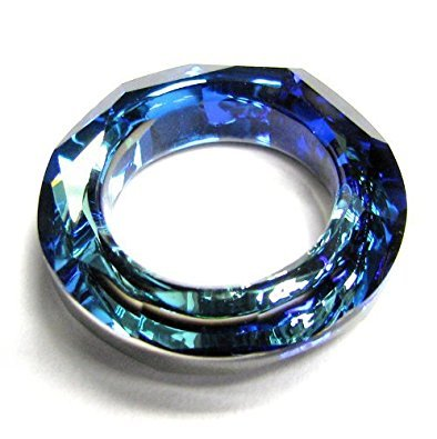 1 pc Swarovski Crystal 4139 Round Cosmic Ring Frame Charm Pendant Bermuda Blue14mm / Findings / Crystallized Element - 4139 14mm Cosmic Ring Crystal