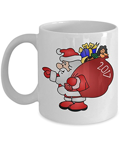 Xmas Mug - Santa 2017 - Funny Secret Santa, Kris Kringle, or Christmas Holiday Gift! - Ceramic Coffee or Tea Cup 11oz by ProtoPixie (Christmas Time Noel's Presents 2017)