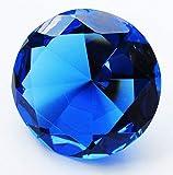 Crystal Glass Diamond Shaped Decoration Paperweight 80mm (3.15'') Diameter (Blue-Cobalt)