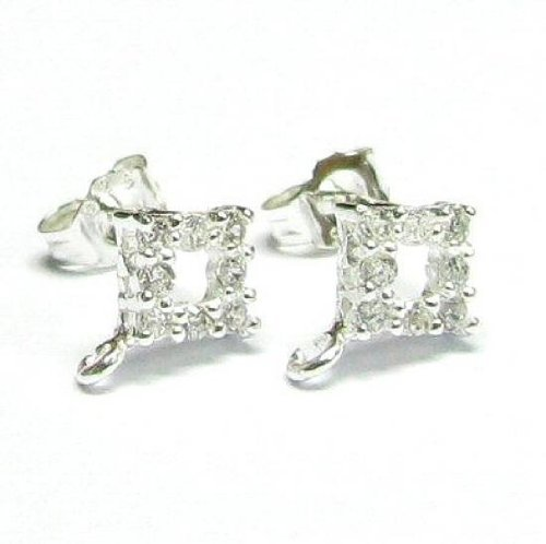 2 pcs .925 Sterling Silver Square Stud Cz Loop Post Dangle Earring Connector w/Clutches/Ear Nut/Findings/Bright