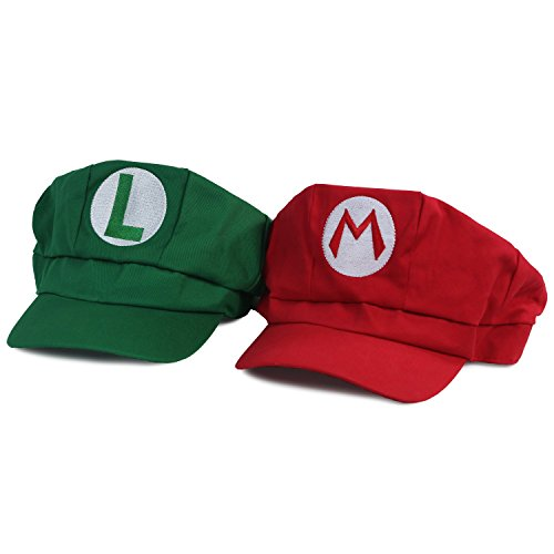 Landisun Costume Hat Anime Adult Unisex Cosplay Cap Red and Green (Mario And Luigi Costumes Kids)