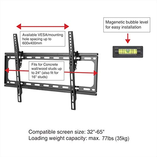 "FLEXIMOUNTS Tilt Low Profile TV Wall Mount Bracket for Most 32-65 inch LED Plasma Flat Screen TVs Fits 16""- 24"" Wood Studs, Tilting TV Mount with VESA 600 x 400mm Holds up to 77lbs"