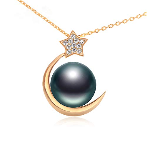 (LVLONG 11-11.5mm/Black Pearl/pendant/s925 Silver Chain/Zircon Inlay/seawater Pearl Necklace/Girlfriend Gift/mom)