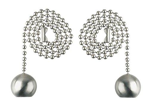 Dysmio Lighting - Ball Pull Chain, 12 Inch, Brushed Nickel - 2-Pack ()