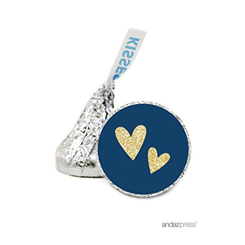 Andaz Press Chocolate Drop Labels Stickers Single, Wedding, Double Hearts Navy Blue and Faux Gold Glitter, 216-Pack, for Hershey's Kisses Party Favors, Gifts, Decorations