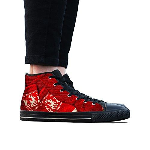 Sneakers, Custom Rood Lint Sok Hoge Top Canvas Schoenen Klassieke Casual Mode Kleurrijke Woens Zwart