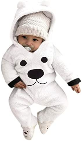 QXLhxuIo Overall Baby Unisex 0-24 Monate Neugeborenes Jungen Mädchen Strampler Spielanzug Warme Jumpsuit mit Kapuzen...
