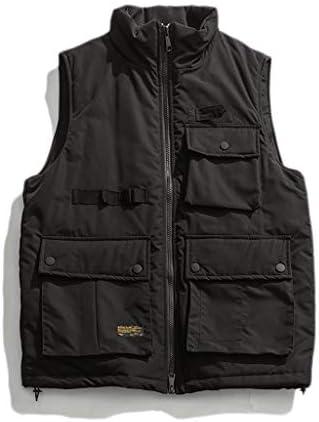 LF- コットンベスト冬のメンズ厚手のベストノースリーブジャケット大型マルチポケットアウトドアベストショルダーコート プラスベルベット (Color : Black, Size : L)