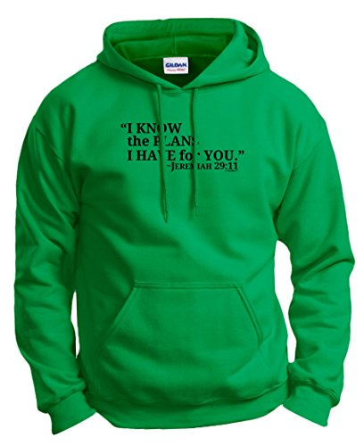 Christian Clothes I Know the Plans I Have for You Jeremiah 29:11 Hoodie Sweatshirt Small Green