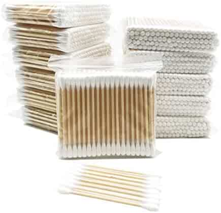 Wooden Cotton Swabs 1200ct / Biodegradable Double Tipped Bamboo Cotton Buds