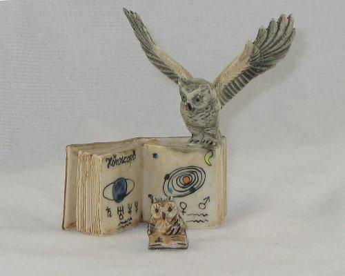 OWL BARN Owl w/WINGS OPEN on OPEN BOOK w/CHICK  Figurines MI