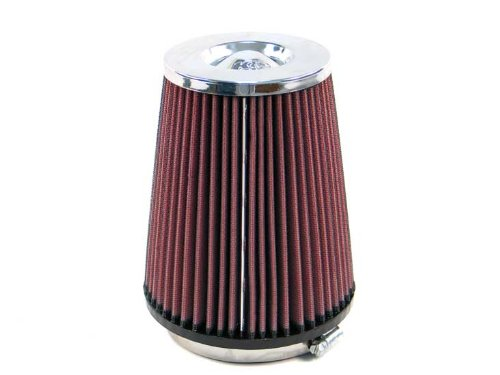 K&N RC-5149 Universal Clamp-On Air Filter: Round Tapered; 4 in (102 mm) Flange ID; 6.5 in (165 mm) Height; 5.375 in (137 mm) Base; 4 in (102 mm) Top