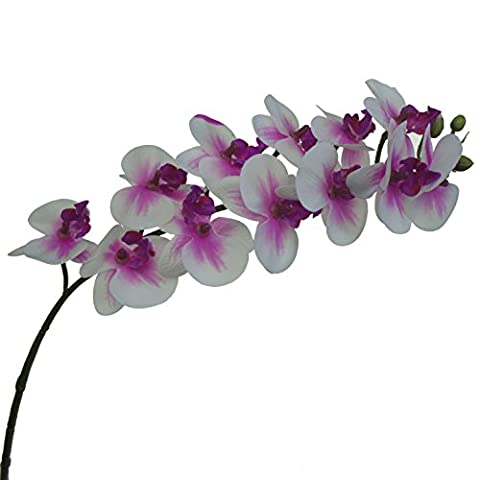Lily Garden Mini Real Touch Latex Artificial Phalaenopsis Orchids Flower (3, Purple Center)
