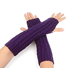 Zeltauto Women's Knitted Arm Warmers Long Fingerless Thumbhole Long Gloves