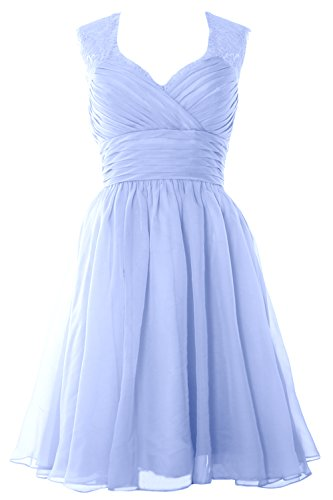 MACloth Women Short Bridesmaid Gown Vintage Chiffon Wedding Party Cocktail Dress Cielo azul