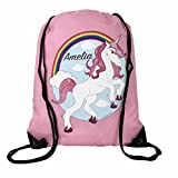 The Supreme Gift Company Personalised Kids PINK BAG Unicorn Drawstring Swimming, School, PE Bag For Girls