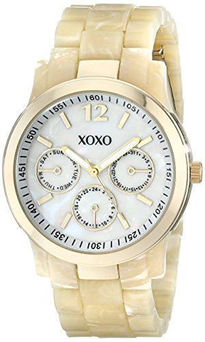 Horn Link Bracelet Watch - XOXO Women's XO5512 Horn Color Bracelet with Gold Case Watch