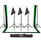 Fovitec - 1x Complete Photography & Videography Studio Kit w/ 10'x12' Muslin Backdrops - [Cast Iron Stands][Collapsible][3000W][Carry Bag Included]
