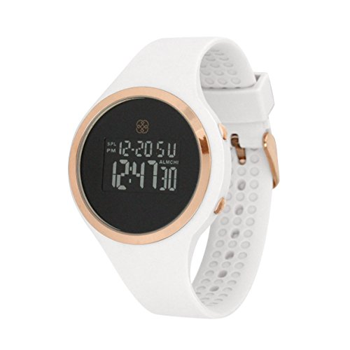 Daisy Fuentes Digital Wrist Watch for Women, Silicone Band, White & Rose Gold Face