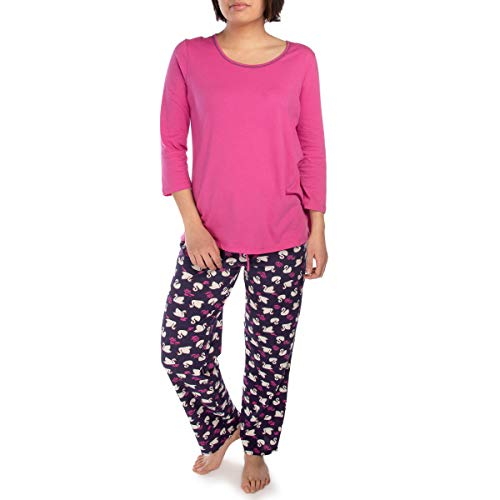 (Jockey (2 Piece Soft Pajama Set for Women Cotton Set 3/4 Sleeve Top Bottom Ladies PJs for Teen Girls Sleepwear)