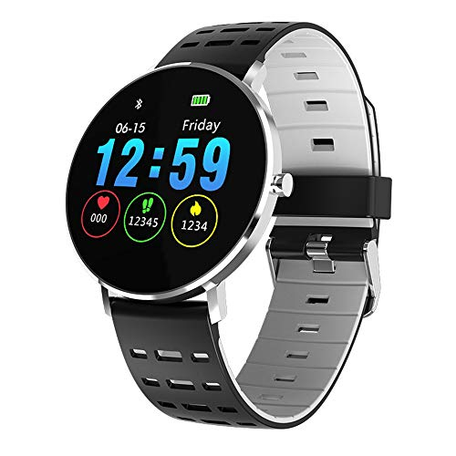 Kooman Fitness Tracker,Full Touch Screen Activity Tracker Watch with Heart Rate Monitor, Color Screen,Sleep Monitor, IP68 Waterproof Smart Watch for Android and iOS (Silver Silicone Strap)