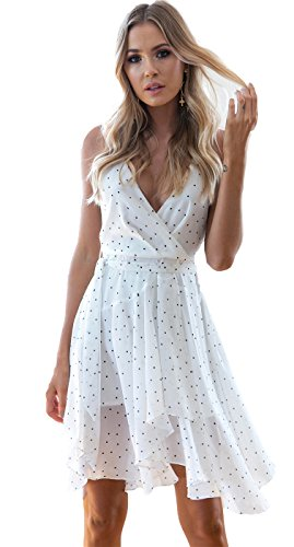 Dotted Front Dress (Arctic Cubic Sexy Sleeveless Deep V Neck Cross Wrap Front Handkerchief Irregular Hem Dotted Midi A Line Dress White S)