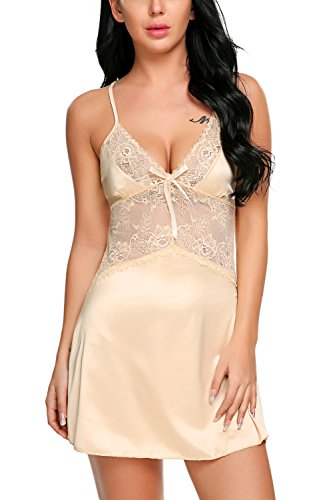Avidlove Women's Sexy Lingerie Satin Nightgowns Lace Chemises Mini Sleepwear Apricot XL ()
