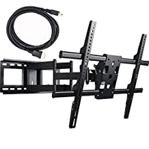 "VideoSecu Articulating Full Motion TV Wall Mount for 32""-65\"" LED LCD Plasma TVs up to 165 lbs with VESA up to 684x400 mm, Dual Arm pulls out up to 25 Inch, with Leveling Adjustments, Bonus 10 ft HDMI Cable A37"