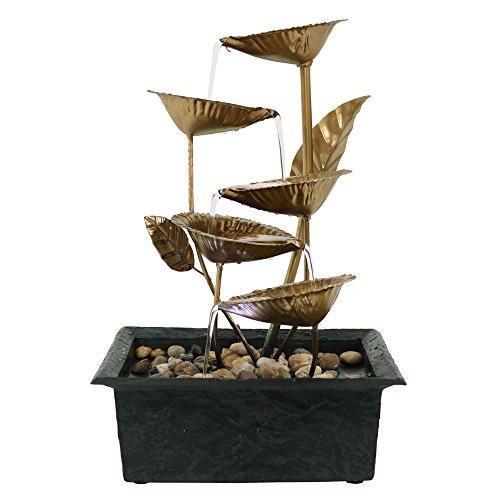 Leaf Outdoor Fountain - Sunnydaze Cascading Five Leaves Tabletop Fountain with LED Light, 13 Inch