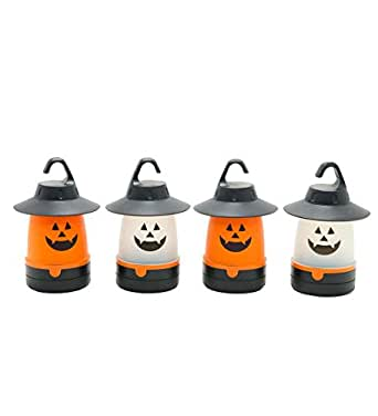 Indoor Outdoor Set of 4 LED Lighted Jack O Lantern Halloween Costume Accessory Lights 4.25 L x 4.25 W x 6.5 H