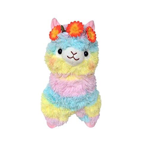 Sunny World Orange Flowers Colored Ribbon Alpaca Llama Toy -13.7