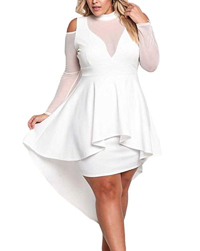 XAKALAKA Women's Plus Size High Low Sexy Mesh Bodycon Mini Night Club Dress White XL