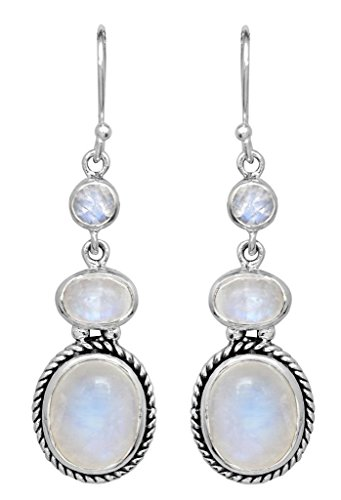 Rainbow Moonstone Dangle Earrings Solid 925 Sterling Silver Designer Gemstone -