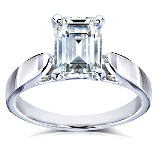 (Emerald Cut Moissanite Solitaire Engagement Ring 1 Carat 14k White Gold (HI/VS), 5.5)