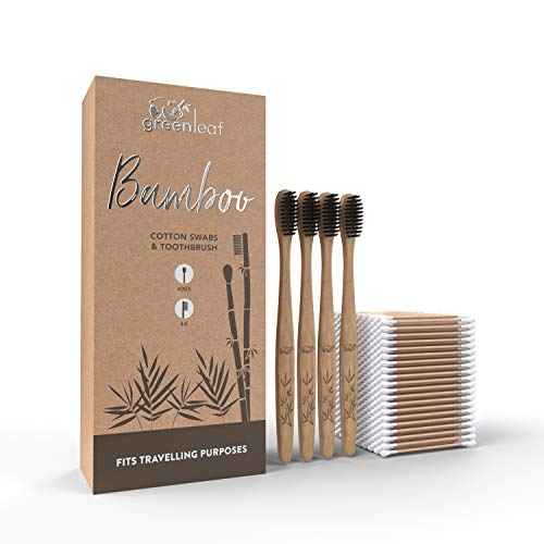 """Bamboo Cotton Swabs 3"""" (400 gadgets) & Bamboo Toothbrush (4 gadgets) with Soft Bristles - Biodegradable Swabs & Toothbrush Set. Eco Friendly, Recyclable Cotton Buds for Ear Cleaning"""