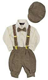 G284 Gino Giovanni Baby Boys Vintage Knickers Outfit Suspenders Set (Large/12-18 Months, Natural)