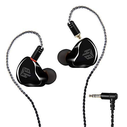 In-Ear Earbud Headphones,hemamba 3.5mm Wired Earphones/Earbuds/Headphones with MMCX Replaceable Cables for Most Smartphones,Natural High-Fidelity Sound Noise Isolation Running Earphone(Black/No Mic)
