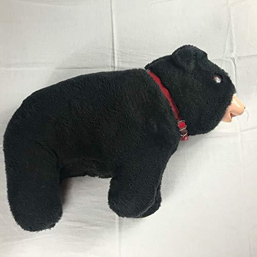 Black Bear Plush Vintage Large Orange Eyes Red Collar Firm Plastic Face Stuffed Toy