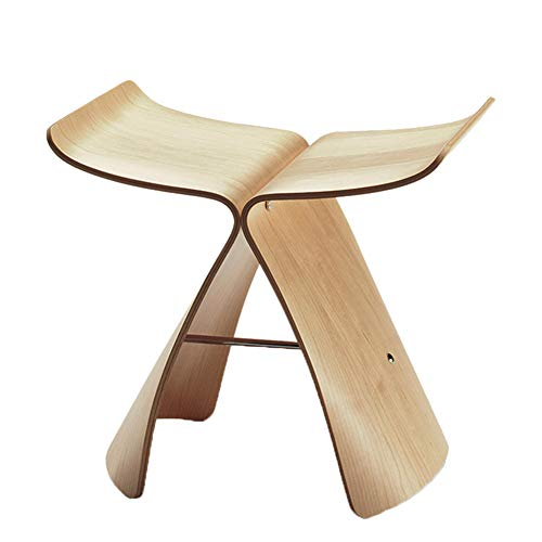 (JIANFEI Footstool Butterfly Stool Table Stool Bentwood Moisture Proof,4 Colors 44x31x40cm (Color : Solid Wood))