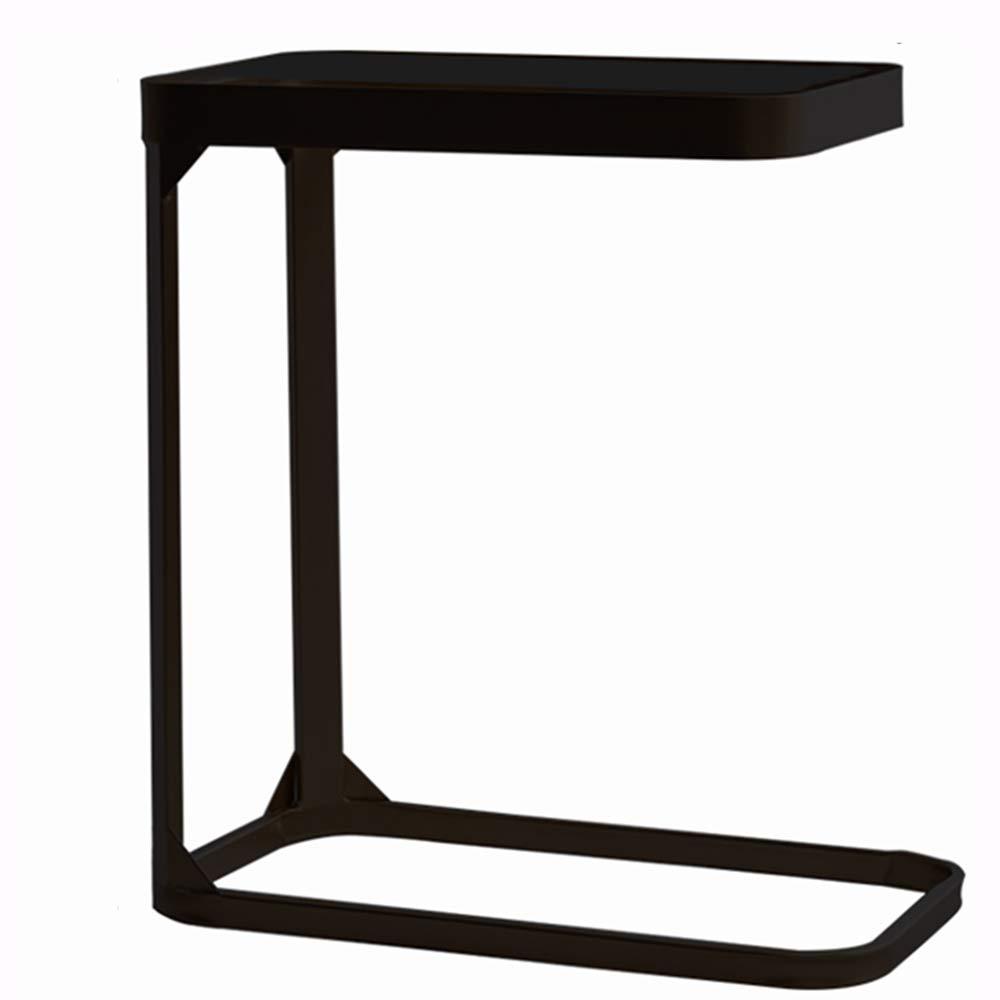 ZZHF changtoukui サイドテーブル、アイアンアートクリエイティブファッションガラスサイドテーブルリビングルームソファーサイドスペース節約コーヒーテーブルベッドルームベッドサイドコンピュータデスクコーナーテーブル、ブラック、ゴールド (色 : 黒) B07LF67MNB 黒