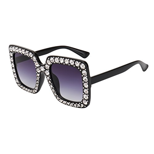 ROYAL GIRL Black Sunglasses For Women Oversized Square Luxury Crystal Frame Brand Designer Fashion Glasses (Black, 67)