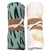 Oliver & Rain Turquoise/Gold Tiger Swaddle 2-Pack